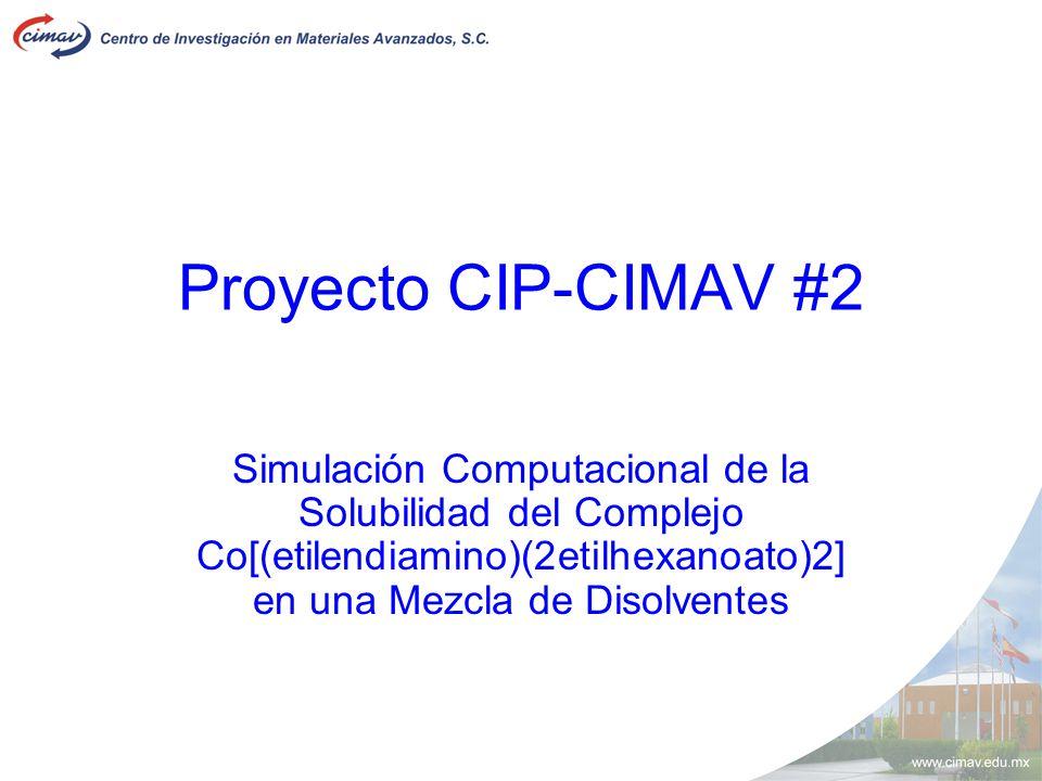 Proyecto CIP-CIMAV #2 Simulación Computacional de la Solubilidad del Complejo Co[(etilendiamino)(2etilhexanoato)2] en una Mezcla de Disolventes.
